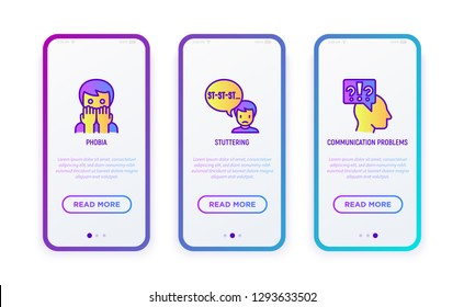 Neurosis thin line icon set: phobia, stuttering, communication problems. Vector illustration for user mobile interface.