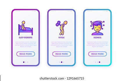 Neurosis thin line icons set: sleep disorders, fatigue, dizziness. Vector illustration for user mobile interface.