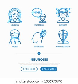 Neurosis thin line icons set: panic attack, despair, phobia, mood instability, stuttering, dizziness. Modern vector illustration.