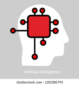 Neurotechnology concept, impulse neural network, neuralink or brain machine interface, neuroscience and mind control, scan and deep brain stimulation, complex IT ecosystem, lead generation vector icon