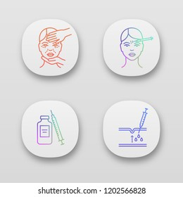 Neurotoxin injection app icons set. Cosmetologist exam, syringe and vial, forehead subcutaneous injection. UI/UX user interface. Web or mobile applications. Vector isolated illustrations