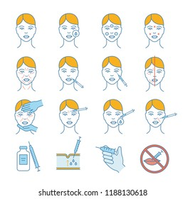 Neurotoxin injection color icons set. Anti wrinkle procedures. Neuro toxin injection. Facial rejuvenation. Cosmetic procedures. Cosmetology. Isolated vector illustrations