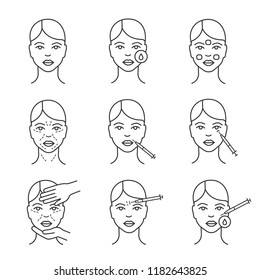 Neurotoxin injection cosmetic procedures linear icons set. Thin line contour symbols. Makeup removal, mimic wrinkles, cosmetologist examination. Isolated vector outline illustrations. Editable stroke