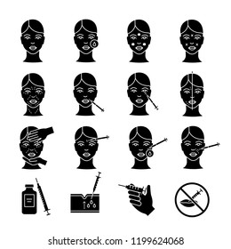 Neurotoxin injection glyph icons set. Anti wrinkle procedures. Neuro toxin injection. Facial rejuvenation. Cosmetic procedures. Cosmetology. Silhouette symbols. Vector isolated illustration