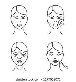 Neurotoxin injection linear icons set. Woman's face, makeup removal, mimic wrinkles, lips neurotoxin injection. Thin line contour symbols. Isolated vector outline illustrations. Editable stroke