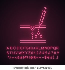 Neurotoxin injection neon light icon. Subcutaneous injection with neuro toxin. Wrinkles reducing process in skin section. Glowing sign with alphabet, numbers. Vector isolated illustration