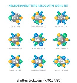 Neurotransmitters vector signs with associative molecular structures set