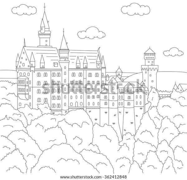 - Neuschwanstein Castle Coloring Book Kids Vector Stock Vector (Royalty Free)  362412848
