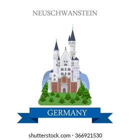 Neuschwanstein Castle Schloss New Swanstone Castle in Bavaria Germany. Flat cartoon style historic sight web site vector illustration. World countries cities vacation travel sightseeing collection
