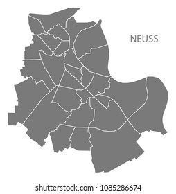Neuss city map with boroughs grey illustration silhouette shape