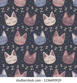 Neutral color seamless pattern illustration with cute kittens asleep. Great for designing cards, children textiles or other surfaces.