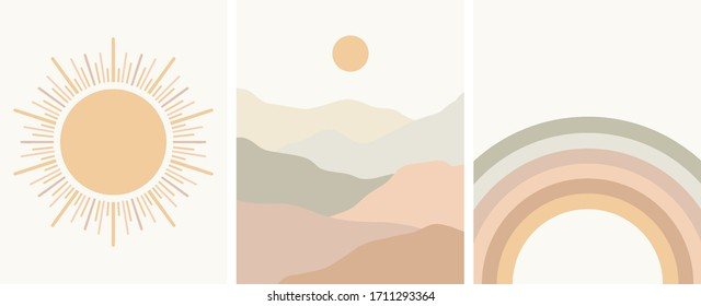 neutral colors abstract art set, rainbow, sun, minimal landscape, mountains, vector illustration