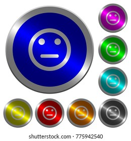 Neutral emoticon icons on round luminous coin-like color steel buttons