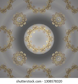 Neutral and gray colors with golden elements. Gold metal with floral pattern. Seamless golden pattern. Vector golden floral ornament brocade textile and glass pattern.