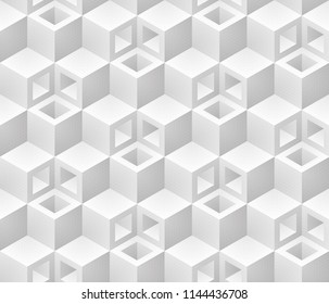 Neutral gray cubes isometric seamless pattern. Vector geometric tileable background.