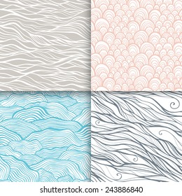Neutral hand drawn doodle seamless patterns set. Vector illustration