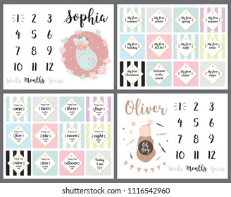 Neutral milestone card baby shower phrases blanket metric girl boy decor newborn gift