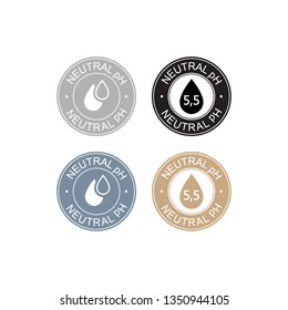 Neutral pH balance logo icon for shampoo or cream. Ph sign label with drop. Vector