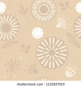 Neutral seamless pattern in scandinavian hugge style