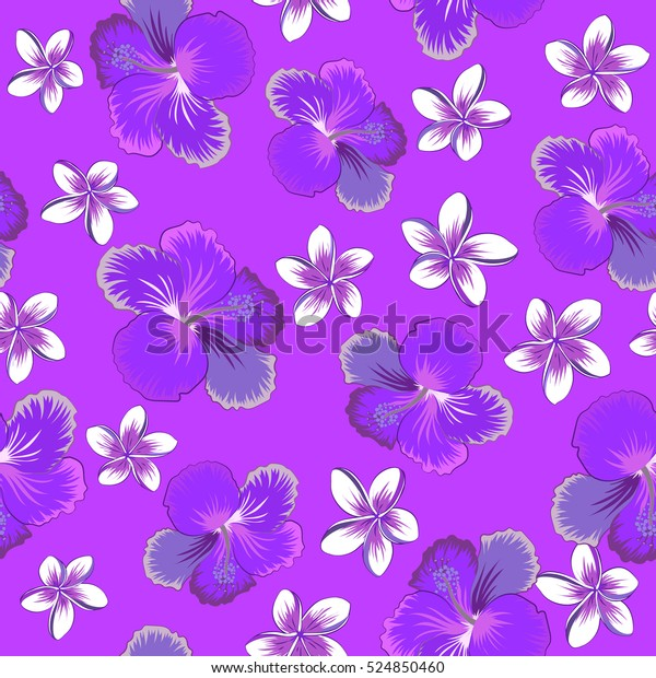 Neutral Violet Purple Hibiscus Flowers Blossom Stock Vector Royalty