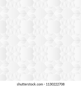 Neutral white abstract texture. Decorative background with 3d pleated paper effect. Vector seamless repeating pattern.