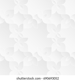 Neutral white texture. Ornamental floral background with 3d folded paper effect. Vector seamless repeating pattern.
