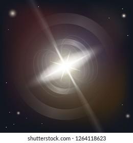 Neutron star makes radiation ray waves in the deep universe. Blitzar. Pulsar. Vector illustration