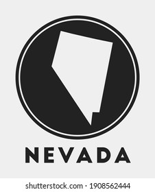 Nevada icon. Round logo with us state map and title. Stylish Nevada badge with map. Vector illustration.