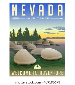 Nevada, Lake Tahoe United States retro travel poster or luggage sticker vector illustration