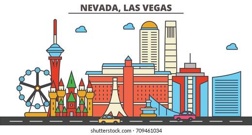 Nevada, Las Vegas.City skyline: architecture, buildings, streets, silhouette, landscape, panorama, landmarks, icons. Editable strokes. Flat design line vector illustration concept.