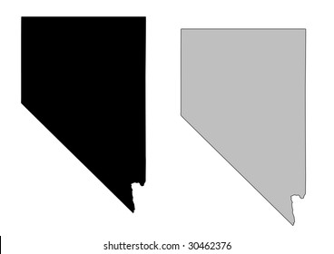 Nevada map. Black and white. Mercator projection.