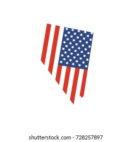 Nevada map silhouette with the The flag of the United States of America, often referred to as the American flag.