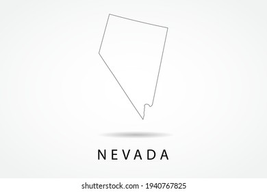 Nevada Map- State of USA Map International vector template with thin black outline or outline graphic sketch style and black color isolated on white background - Vector illustration eps 10
