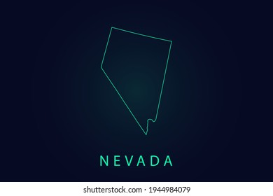 Nevada Map- State of USA Map International vector template with thin black outline or outline graphic sketch style and Green color isolated on dark background - Vector illustration eps 10
