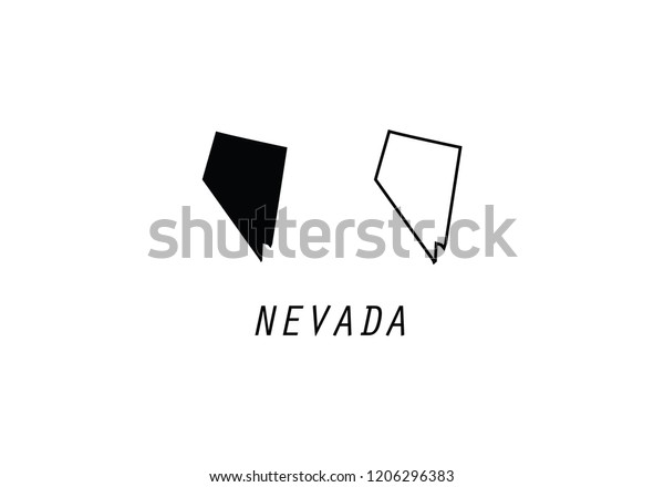 Nevada Outline Map State Shape Usa Stock Vector Royalty Free 1206296383