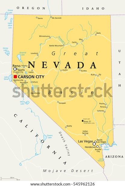 Nevada Political Map Capital Carson City Stock Vector (Royalty Free on