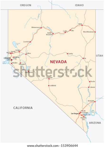 Nevada Road Map Stock Vector (Royalty Free) 153906644