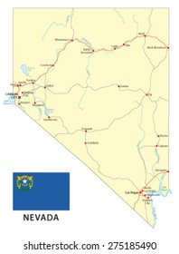 nevada road map with flag