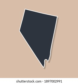 Nevada state borders, United States of America. Nevada border map. Political borders of the  USA Nevada state. Vector illustration.
