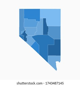 Nevada State Map Administration Division Blue Color. Arkansas Map Vector Illustration Eps10