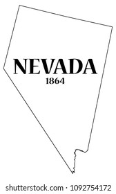 A Nevada state outline with the date of statehood isolated on a white background