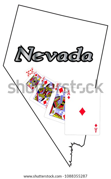 Nevada State Outline Royal Flush Isolated Signs Symbols Stock Image