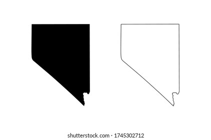 Nevada state silhouette, line style. America illustration, American vector outline isolated on white background