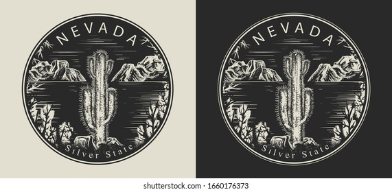 Nevada. United States of America (USA). Silver State slogan. Travel and tourism concept. Template for clothes, t-shirt design. Vector illustration