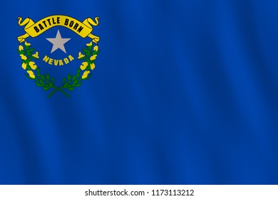 Nevada US state flag with waving effect, official proportion.