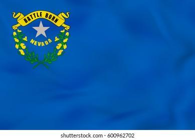 Nevada waving flag. Nevada state flag background texture.Vector illustration.
