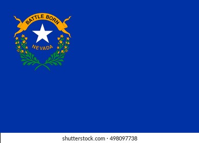Nevadan official flag, symbol. American patriotic element. USA banner. United States of America background. Flag of the US state of Nevada in correct size, proportions and colors, vector illustration