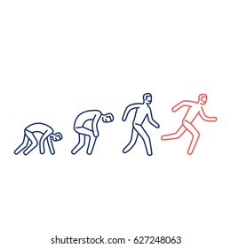 Never give up. Vector illustration of businessman evolution from crawling to running forward | modern flat design linear concept icon and infographic blue and red on white background