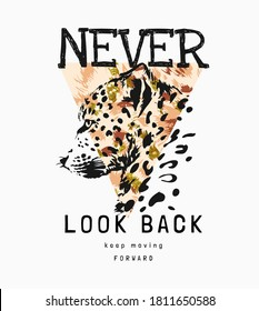 never look back slogan with leopard on triangle background