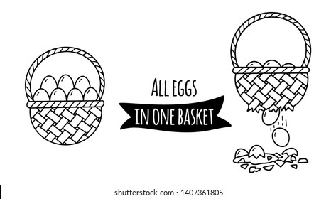 Never put all eggs in one basket: basket with eggs and crush of them as illustration of idea of financial risks
